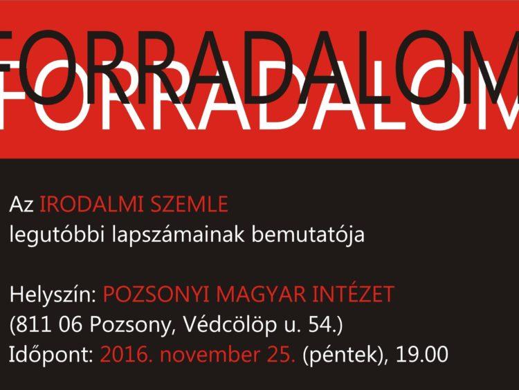 Forradalom – Lapszámbemutató Pozsonyban (Meghívó)