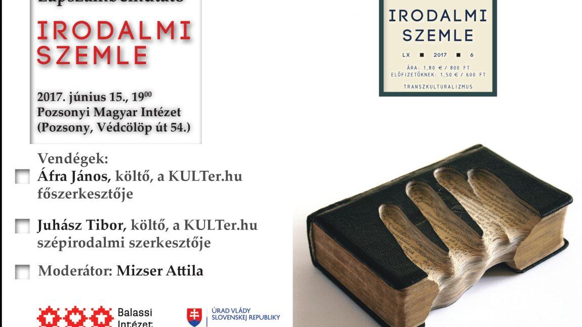 Az Irodalmi Szemle vendége a KULTer.hu (Lapszámbemutató Pozsonyban)