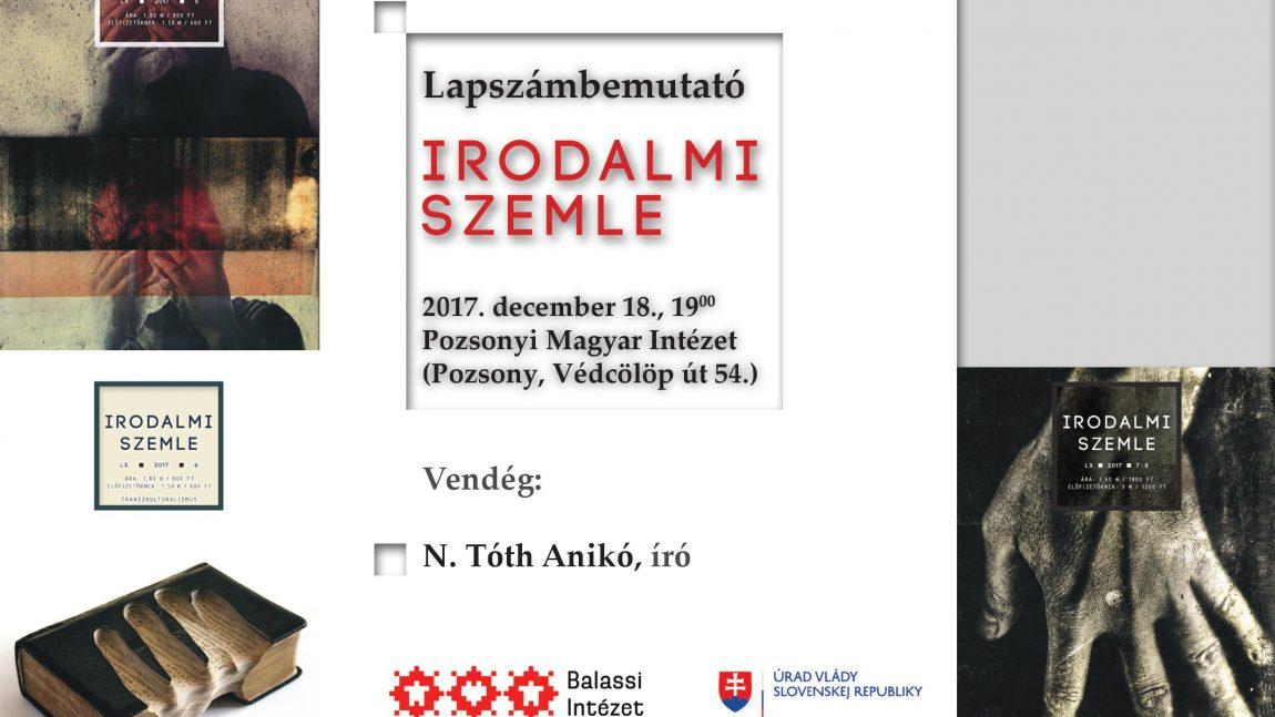 Évzáró Szemle-est N. Tóth Anikóval Pozsonyban (meghívó)