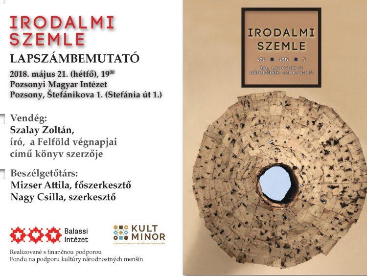 Lapszámbemutató Pozsonyban Szalay Zoltánnal (meghívó)