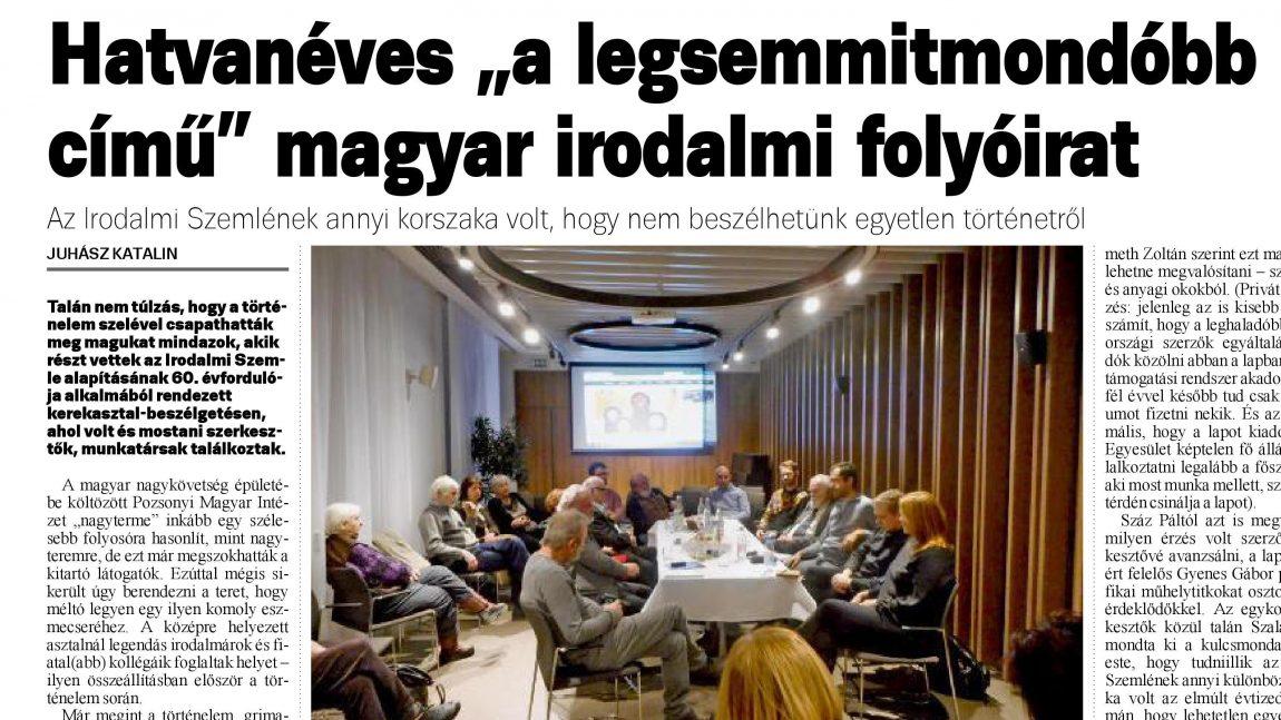"""Hatvanéves a """"legsemmitmondóbb című"""" magyar irodalmi folyóirat"""