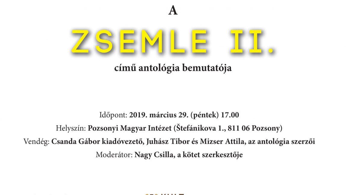 Zsemle 2 — Az Irodalmi Szemle líraantológiájának bemutatója Pozsonyban